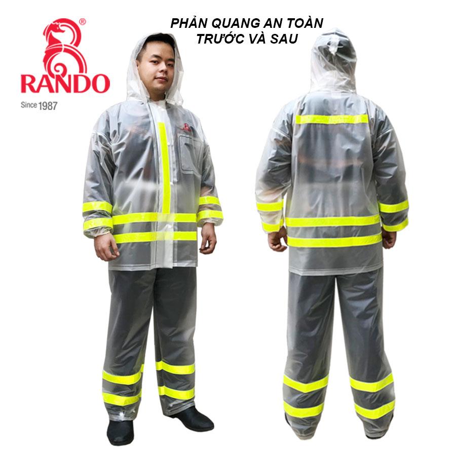 Mặt trước và sau bộ áo mưa trong màu phản quang RANDO