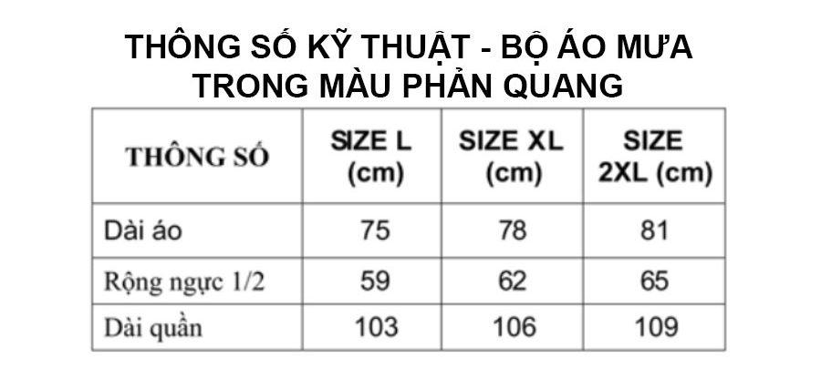 Thông số kỹ thuật bộ áo mưa trong màu phản quang RANDO