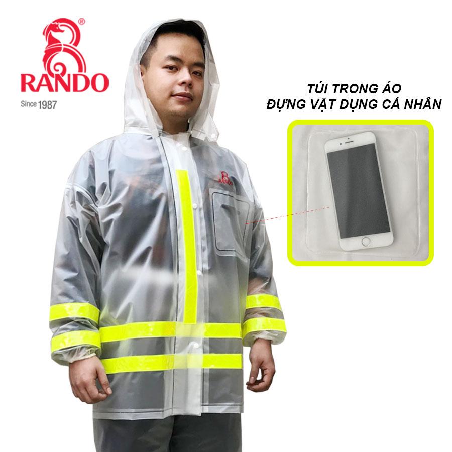 Túi trước bộ áo mưa trong màu phản quang RANDO